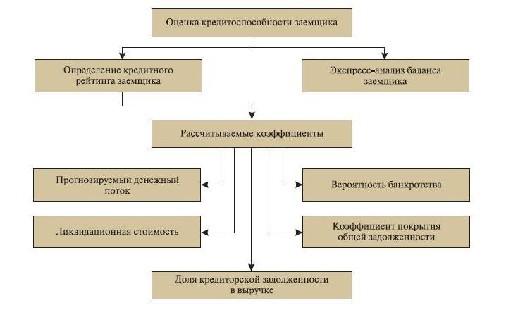 Схема рейтинговой оценки кредитоспособности заемщика